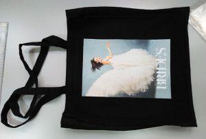 تمت طباعة حقيبة عينة سوداء من عميل المملكة المتحدة بواسطة طابعة النسيج dtg